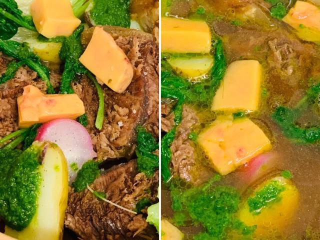 Jules Bistrot Gourmand Pot-au-feu au miso, Os à moelle, carotte, Pdt, radis, pack-choï et condiment aux herbes.